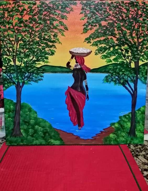 Pintura acrilica negra africana